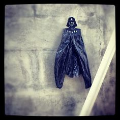 My ongoing intervention art project utilizing plastic bag waste in Jakarta. Plastic bag Vader http://roovie.net