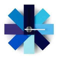 "11"" Pinwheel Wall Clock with Bright Blue Panels"