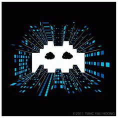 random goodness #white #black #illustration #blue #spaceinvader