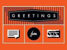 Dribbble - Greetings by Linda Eliasen #script #orange #icons #illustration #futura #type