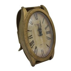 Gold Watch Clock, 2 cm W x15 cm D x1 8 cm H
