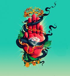 Kill the Noise - Occult Classic on Behance #color #hand #snake #design #art #street #diamont #trap