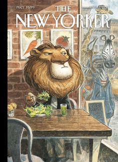 "The New Yorker, Cover - ""A New Leaf"" by Peter de Sève #leaf #instinct #big #cat #yorker #illustration #zebra #king #new #lion #design #of #predator #prey #salad #jungle #animal #diet #pride #the #art"