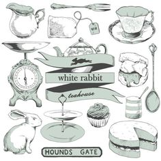 Illustrations for my good friends Tom and Fran, for their teahouse tote bags.nhttp://whiterabbitteahouse.com/