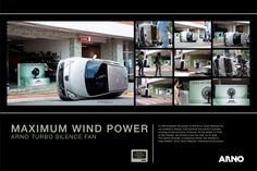 Arno Turbo Silence Fan: Maximum Wind Power | Ads of the World™ #biggest #advertising #real #arno #street #car #life