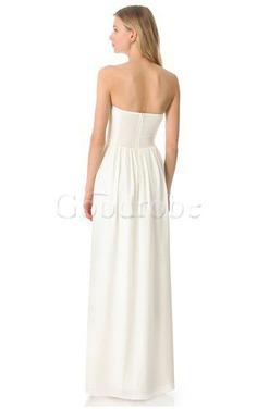 Robe de mariée jusqu'au sol dos nu de bustier ruché en chiffon