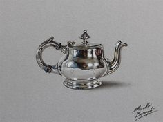 Realistic Color Drawings of Everyday Objects by Marcello Barenghi #teapot #metal #realism
