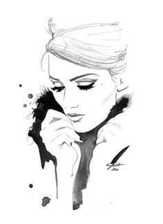 Print from original watercolor and charcoal fashion illustration by Jessica Durrant titled I Remember You #acuarela #illustration #watercolor #woman