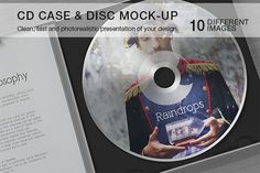 CD Case & Disc Mock-up  https://creativemarket.com/itembridge/17003-CD-Case-Disc-Mock-up  Based on smart objects. Easy to use, save your tim