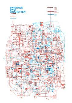 kernkraftanlage + bauschutt #illustration #blue #red #lines #gonzo