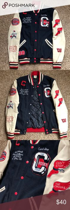 Crooks & Castles Varsity Letterman's Jacket Very trendy letterman's jacket with genuine leather sleeves and wool shell. Patches and embroidery make it a unique and vintage addition to any outfit! Normal wear and tear. Crooks & Castles Jackets & Coats