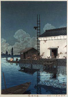 hasui kawase, woodblock print, woodcut, illustration
