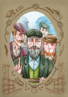 "Illustration for the book ""War Horse"" #grandpa #auction #market #men #faces #vintage #watercolor #illustration"