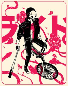 Robots Cry Too [ Featuring nook (@Raccoonnook) ] Curated by Gabriel Suchowolski ( microbians ) #skull #bike #comic