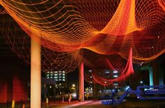 Giant Net Sculptures Color the Sky - My Modern Metropolis #janet #installation #by #art #echelman #net #neon