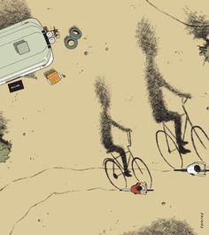 ADRIAN TOMINE Illustrations #bikes #illustration #tomine #adrian