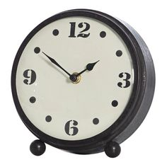Mavis Black Metal Table Clock, 18 cm D