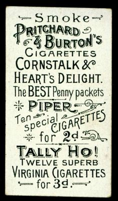 All sizes | Cigarette Card Back - Pritchard & Burton | Flickr - Photo Sharing! #typography #vintage