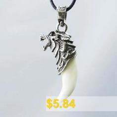 Fashion #Men's #Antique #Silver #Tribal #White #Stark #Wolf #Fang #Tooth #Boho #Pendant #Necklace #- #PHOTO #COLOUR