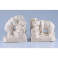 TWIN MUKENDI (BOOKENDS) IN THE FORM OF POLAR BEARS. FRANCE