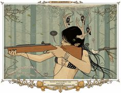 ImageShack® Online Photo and Video Hosting #rifle #deer #vector #girl #illustration #milk