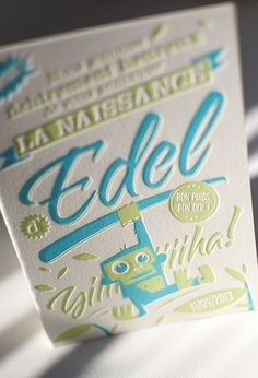 Edel birth announcement | Elegante Press #announcement #letterpress #baby