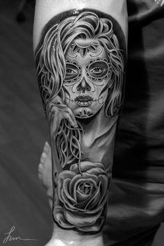 muertosrose_juncha #tattoo #dia #de #los #muertos #sugar skull #jun cha