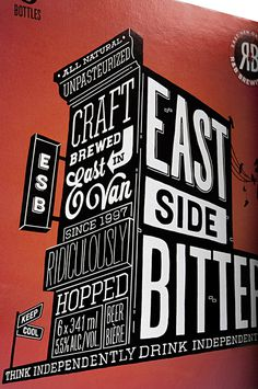 eastside #design #typography #type #identity #packaging #hand drawn #label #beer #red #black and white #package #package design