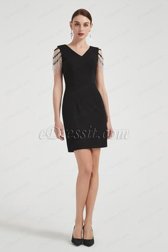 eDressit Lovely Black Tassel Shoulder Cocktail Party Dress (03200500)