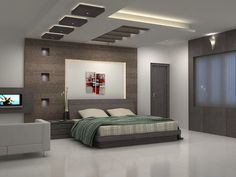 Abstract paintings in modern and luxury bedroom
