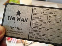 Tin Man Brewing Business Card #business card #beer