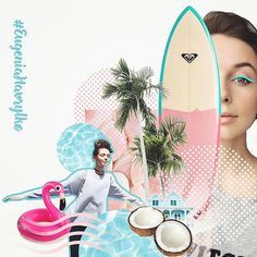 Girl portrait, summer, flamingo, surfingboard, coconut, beach party, pool