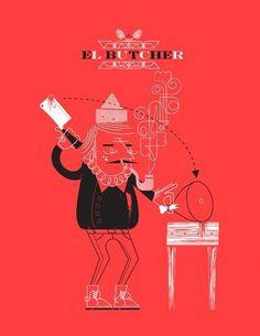 Alex Perez #butcher #line #red #alex #illustration #perez