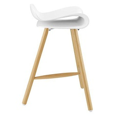 Tri-legged Curved Barstool in White