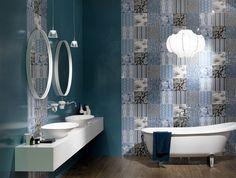 Great Colour Trend in Bathroom Wallcovering - #bath, #interior, #decor, #wallcoverings, #walls, #walldecor