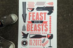 Feast with the Beasts letterpress event poster. Produced by Workhorse Prints.