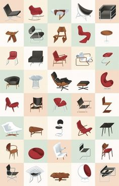 Modern Furniture Mid-Century Poster – Graphic Design, Illustration inspiration on MONOmoda #chair #illustration