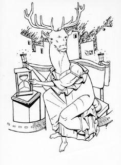 Imago cervus - numanhoid #deer #illustration #numanhoid #time #sodapuff