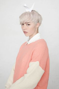Block Sleeve Contrast Jumper Pink #retail photography