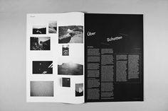 ÜBERSCHATTEN — DIPLOMARBEIT - Sebastian Schichel #white #fugue #black #spread #and #editorial #magazine #typography