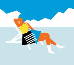 Relaxing #fitza #illustration #winter #mountains #shapes #bold