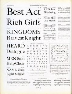 Caslon Oldstyle No. 471 #type #specimen #typography