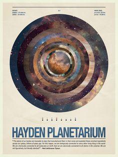 Hayden Planetarium. Poster, www.artams.com #hayden planetarium #poster #graphic #design #artams #anthony #scime #space #planets