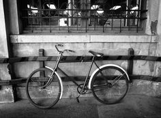 Old bike in Budapest #old #white #budapest #black #photography #bike #and