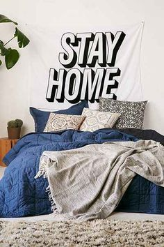 Stay Home Appliqué Tapestry, Urban Outfitters