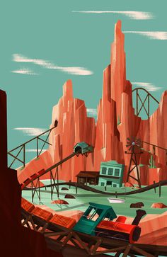 Big Thunder Mountain #illustration #disneyland #something savage #big thunder mountain