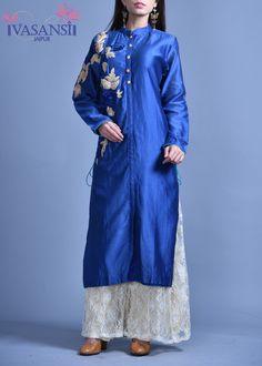 Vasansi Blue Silk Pallazo Set