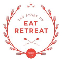 Eat Retreat #white #red #food #crest #logo