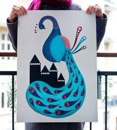 Michelle Carlslund Illustration: Peacock poster #nordic #city #peacock #nice #danish #bird #feathers #illustration #elegant #scandinavian #poster #blue