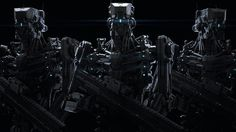 tumblr_mzeu3ndEwL1qbpxtio1_500.jpg (500×281) #robot #guards #black #guns #mech